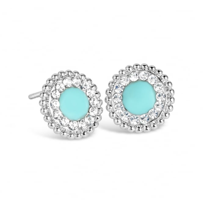Gorgeous Light Blue Rhodium Plated Stud Earrings