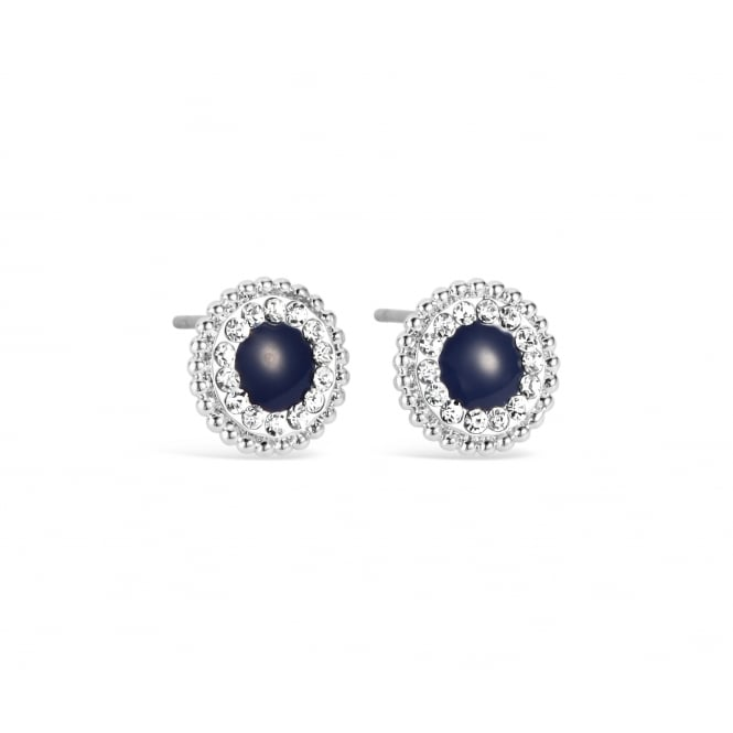 Gorgeous Dark Blue Rhodium Plated Stud Earring