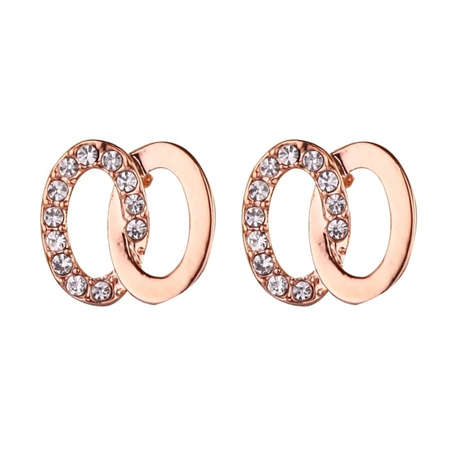 Rose Gold Plated, Crystal Stud Earring