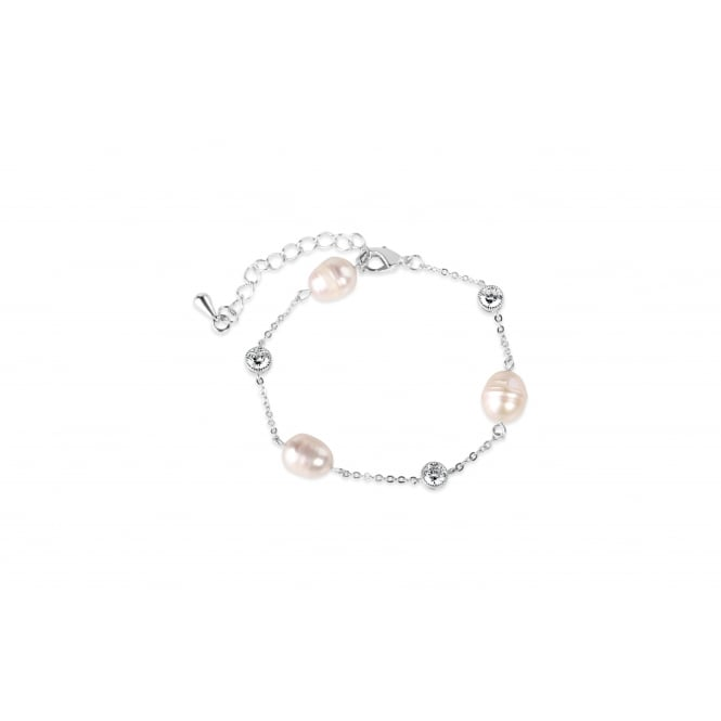 Lovely Imitation Rhodium Plated Fresh Water Pearl Bracelet.