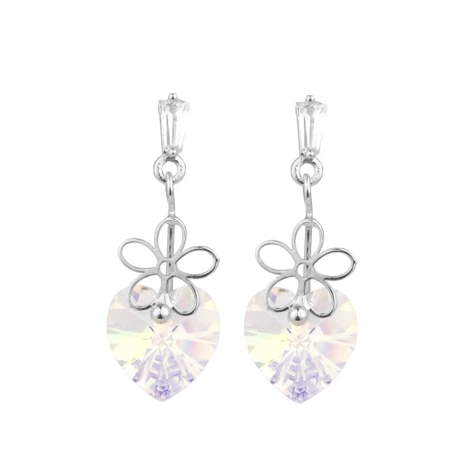 Rhodium Plated Cubic Zirconia Small Drop Earrings