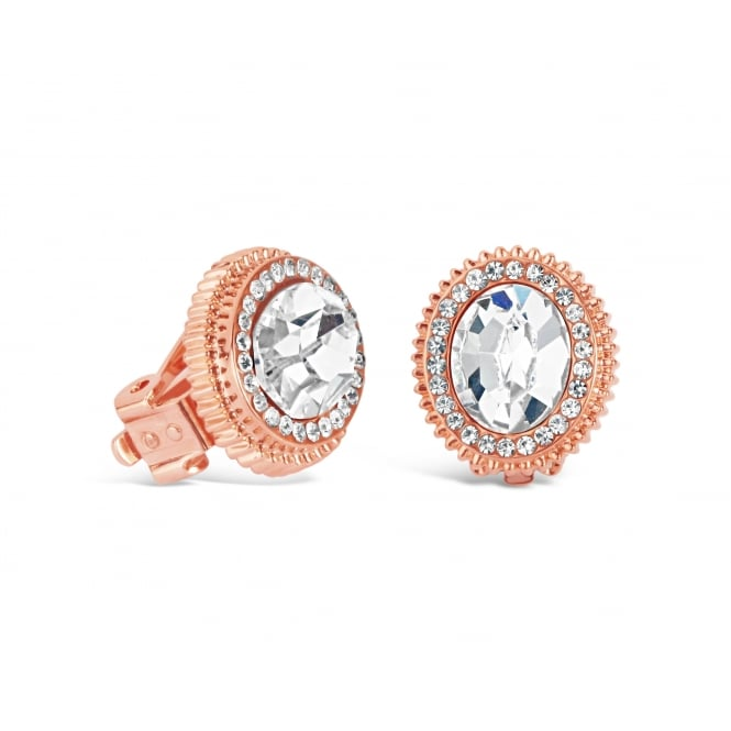 Rose Gold Plated Crystal Stoned Stud Earrings