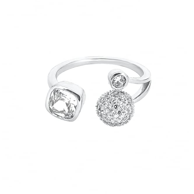 Adjustable Silver Plated Clear Cubic Zirconia Ring