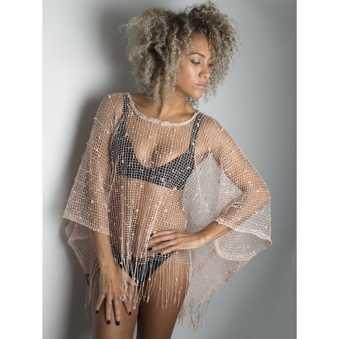 4 Assorted crochet beach top-one size in black,pink and beige