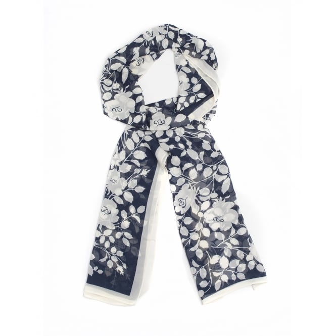 3 assorted scarves with a contemporary leaf pattern in navy ,grey and pink .