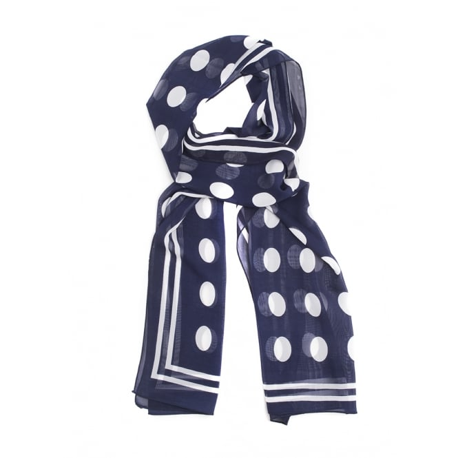 3 assorted polka dot design navy colour scarves in 3 assorted designs.