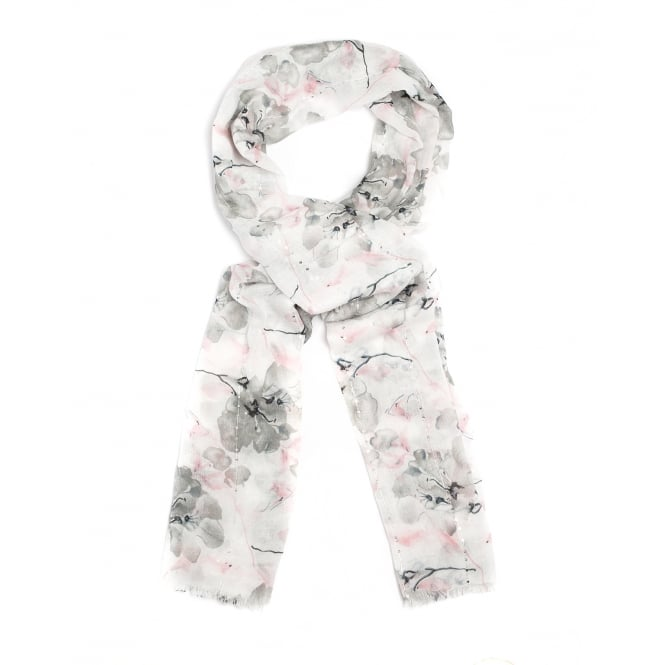 4 assorted contemporary flower design scarf .Colours in ther pack are grey,blue and beige.