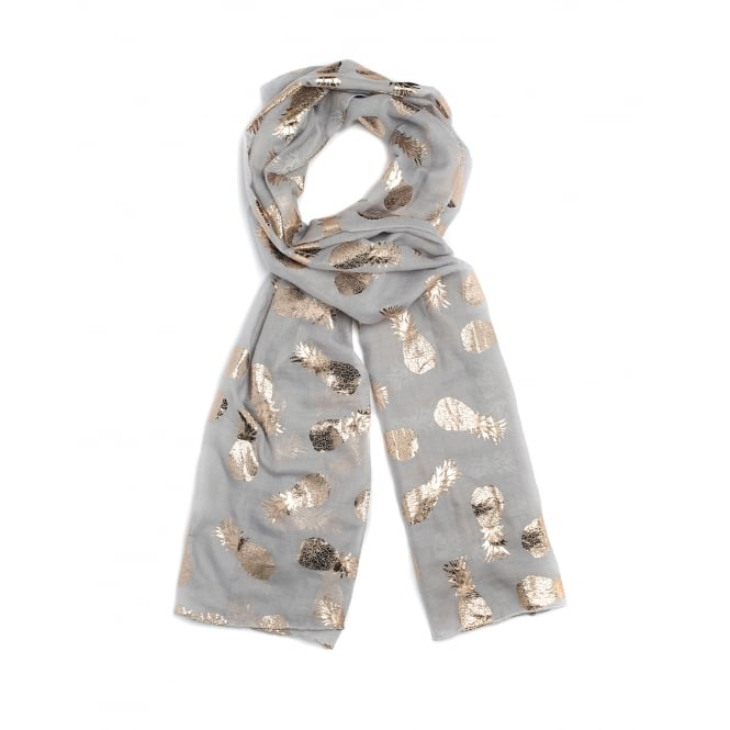 4 Assorted foil/pineapple print scarf in white,blue,grey and pink assorted.