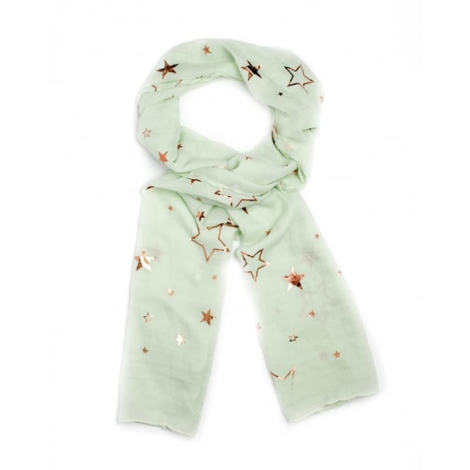 4 assorted foil/star print scarf.Packed in mixed colours-grey,white,pink and mint.