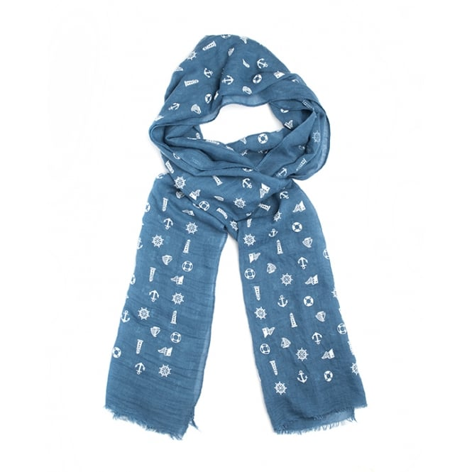 6 assorted nautical print scarf packed in 4 assorted colours.