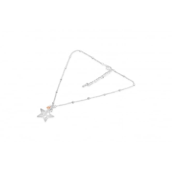 Gorgeous Shiny silver and Rose Plated Star Pendant Necklace
