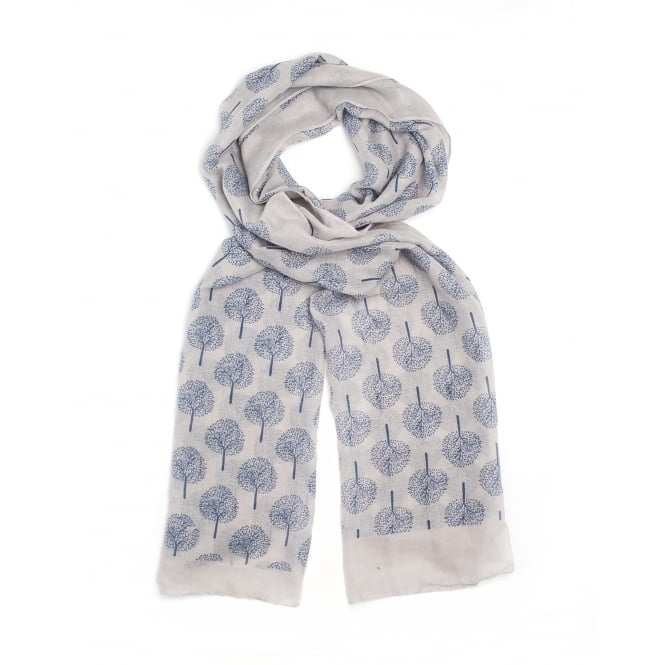 4 assorted tree of life print scarf.Colours are stone,white and blue.