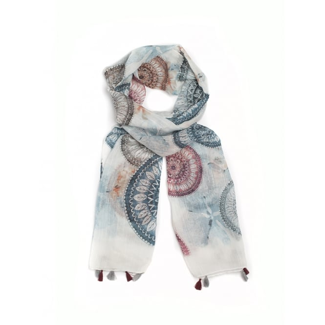 3 assorted dreamcatcher design print scarf ,packed in assorted colours.