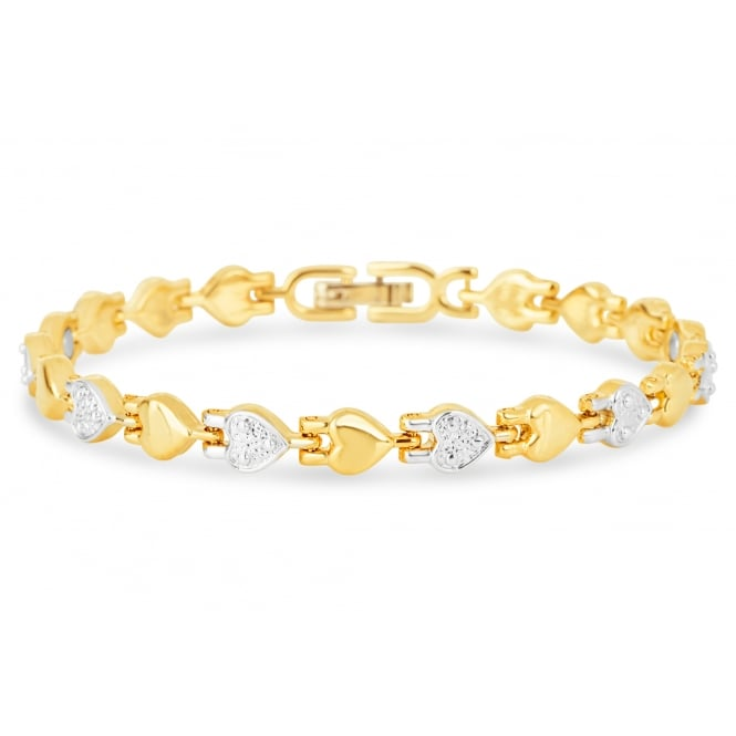 Gold plated heart design magnetic bracelet.