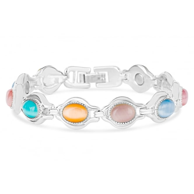 Magnetic bracelet with coloured stones and silver plating.