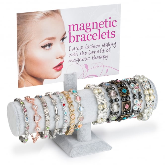 24 PIECE ASSORTED MAGNETIC ELASTICATED AND METAL BRACELET DISPLAY
