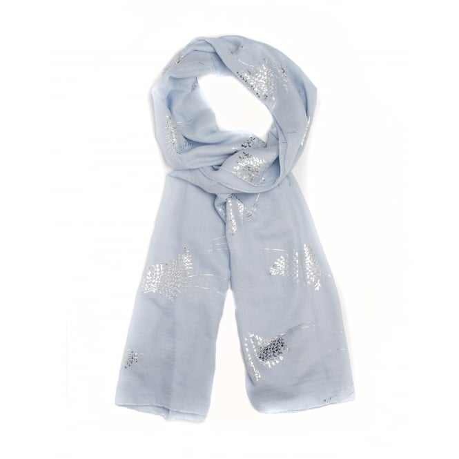 4 Assorted Foil/Branch Print Scarf, White, Blue, Grey, Pink