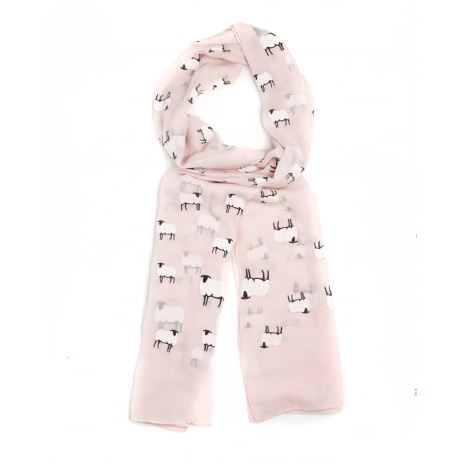 4 Assorted Sheep Print Scarf, Cream, Pink, Blue, Grey