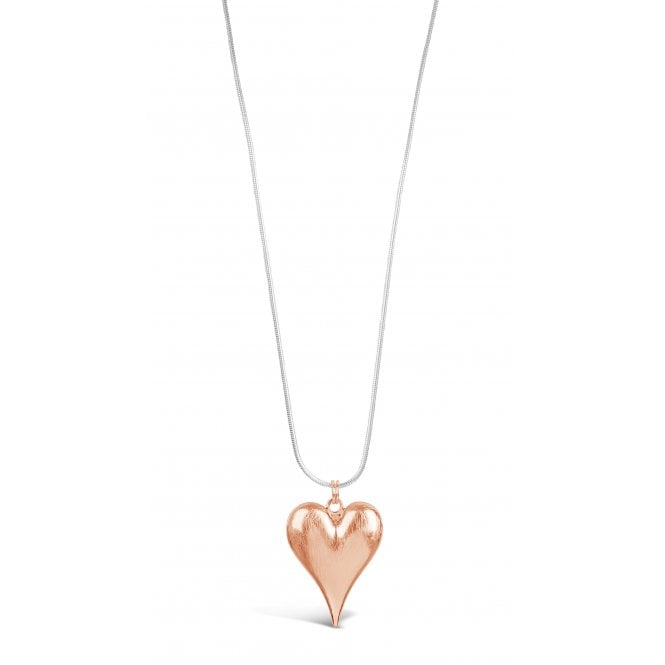 Pack Of 2 Silver Plated, Rose Gold Plated Heart Long Necklace. POUCH