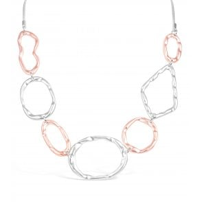 ad7a832c808 PRICE FOR PACK OF 2 Matt Silver and Matt Rose Gold Plated Necklace N18635  With Free