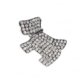 PRICE FOR 1 Dog Brooch in Gun Metal with Crystal Stones BRO682 With Free Gift Box