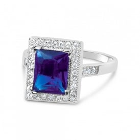 Stunning Montana Rhodium Plated Ring with Cubic Zirconia.