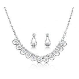 Classic Cubic Zirconia Stone and Rhodium Plated Necklace and Earrings Set.