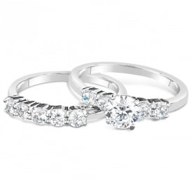 Cubic Zirconia Set of 2 Rhodium Plated Rings.