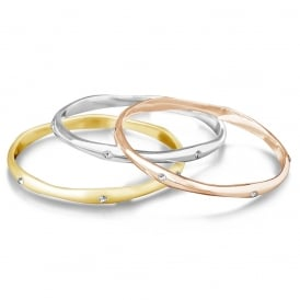 Trio Bangle Bracelet. Mixed Gold Plating With Crystal Stone.
