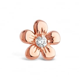 10mm Drop - Cute Flower Shaped Rose Gold Plated Earrings with Crystal Glass Stone feature.