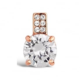 12mm Drop. Rose Gold Plated Cubic Zirconia And Crystal Stone Earring.