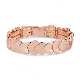 Shiny Rose Gold Plated Flow Heart Bracelet.