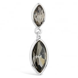 Rhodium Plated Marquise Cut Black Stone Earrings.