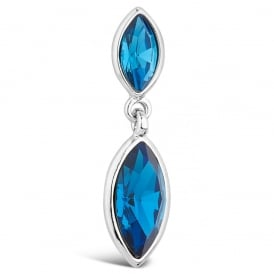 Stunning Rhodium Plated Double Marquise Cut Blue Drop Earrings.
