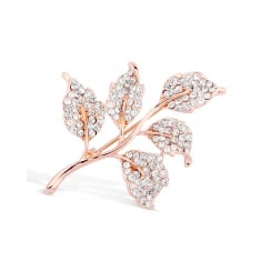 40mm Width. Rose Gold Plated Tree Crystal Brooch.