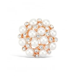 26mm Width. Rose Gold Plated Crystal and Pearl Cluster Brooch.