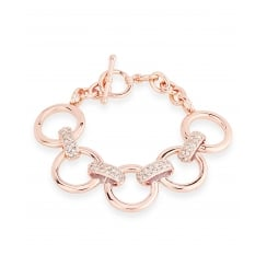 Shiny Round Rose Gold Plated Link Bracelet, 5 Circular Links With Crystal detail, T-Bar Clasp.