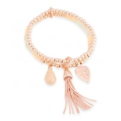 Double Layered Rose Gold Plated Bead Bracelet with Tassle.