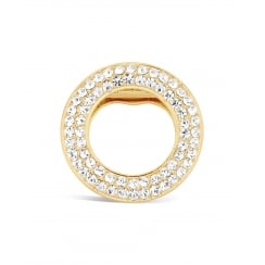 40mm width Lovely Gold Plated Circular Crystal Brooch.