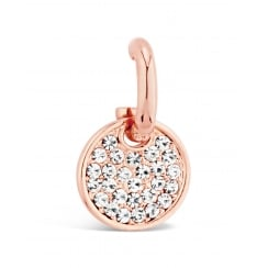 *Rose Gold Plated Crystal Encrusted Stud Earring. 17mm Drop.