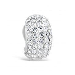 Pave Crystal Set Clip On Earring in Rhodium Plating.