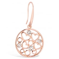 Unique Rose Gold Filergree Heart and Circle Drop Earring, with Crystal Stones. 42mm Drop.