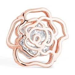 Rose Gold Stud Rose Flower Cubic Zirconia Earring. 12mm Drop.