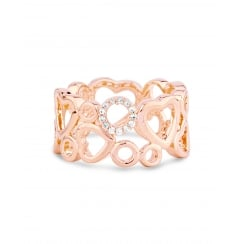 Rose Gold Plated Heart Ring with Crystal stones.
