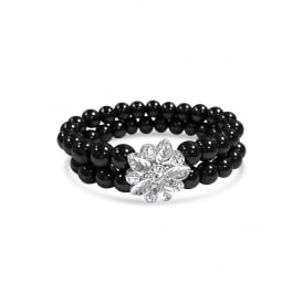 Black Two Tier Beaded Elasticated Bracelet with Flower Silver Pendant.