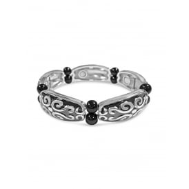 Black and Rhodium Plated Hematite Bracelet with Swirl Detailing.