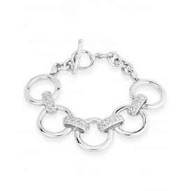 Shiny Round Imitation Rhodium Link Bracelet 5 Circular Links Crystal T-Bar Clasp