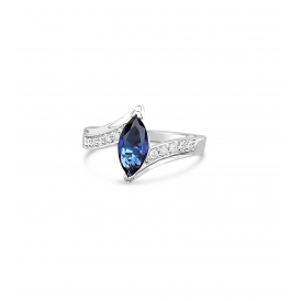 Sapphire Blue Marquise Cut Ring
