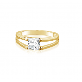 Simple Gold Plated Ring with Crystal Stone.