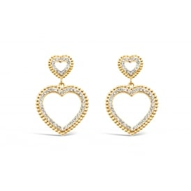 Double Sweetheart Gold Plated Earrings Crystal Stoned 31mm Drop